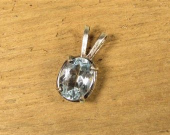 Sterling Blue Topaz Pendant - Silver Light Sky Blue Small Oval Gemstone
