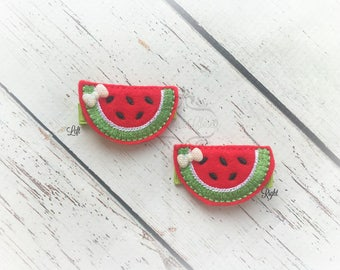 Watermelon Hair Clip Picnic Food Hair Clippie Fruit Clip Red Watermelon Hair clip Pick one or two. Pick Left side or Right.