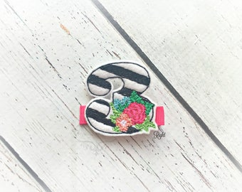 Birthday Hair Clip Third Birthday Hair Clippie Floral Three Clip Three Hair clip Pick one or two. Pick Left side or Right.