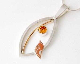 Mixed metal jewelry mixed metal pendant Jeweled Bird Pendant