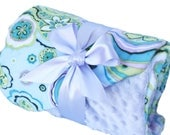 Small Round Bed and Pet Blanket Aqua and Lavender Flower Minky Personilization included