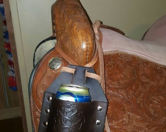 Leather saddle can holder