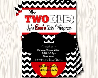 Custom Mickey Mouse - Second 2nd Oh Twodles Toodles Red Black Yellow Chevron Stripe Birthday Party Invitation - Any Color