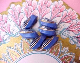 6 Pretty Edwardian Era Blue Glass and Metallic Gold Buttons