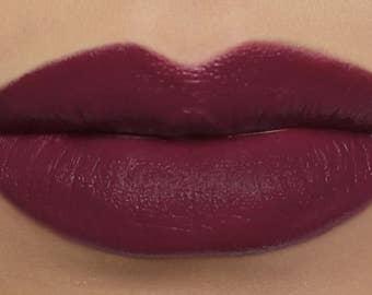 "Matte Lipstick - ""Delphyne"" (deep plum wine vegan lipstick with opaque coverage)"