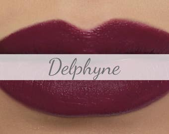 "Vegan Matte Lipstick Sample - ""Delphyne"" (dark plum natural lipstick with opaque coverage)"