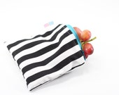 Black and White Stripes Reusable Bag, Reusable Bags, Reusable Snack Bags, Reusable Sandwich Bags, Handmade Zipper Bags, Small Zipper Pouch
