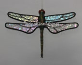 "Stained Glass DRAGONFLY Suncatcher, ""Stardust"", Clear Iridescent Wings & Handcast Metal Body, USA Handmade Original, Iridescent Dragonfly"
