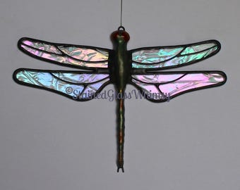 Stained Glass DRAGONFLY Suncatcher, Northern Lights, Clear Rainbow Iridescent Wings, Handcast Metal Body, USA Handmade, Dragonfly Suncatcher