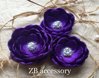 Cadbury purple silk flowers hair clip, bridal hair clips, shoe clips, bridesmaid dress sashbrooch sew on ornament pearls Scottish Weddings