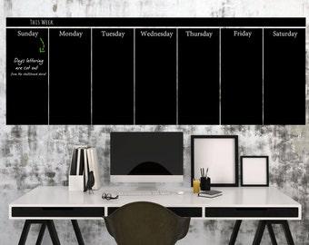 Large Wall Calendar, Chalkboard Vinyl Decal, Blackboard, Calendar 2017, Vinyl Wall Decals, Office Calendar, Chalkboard Wall Decal ID404B [p]