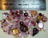 BEAD SOUP - Destash - Glass & Crystal - pinks - variety - beads PG885