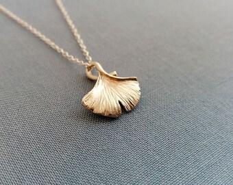 Ginkgo Leaf Necklace.  Ginkgo  Necklace. Ginkgo Leaf.  Botanical Necklace. Christmas Gift Under 30