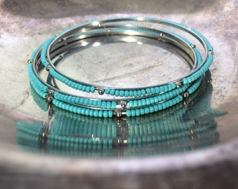Silver Bangle Bracelets Turquoise Beaded Bangle Bracelets Vintage Stacking Bracelets Vintage Jewelry Antique Jewelry