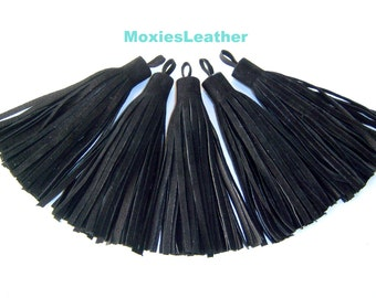 leather tassel ,Black Suede tassels ,genuine suede ,tassels for  keychain, - suede fringe tassel - suede tassle ,