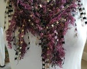 Plum, Black and Gold Knotty Little Scarf. 17-482