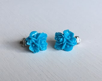 Blue Blossom Clip On Earrings