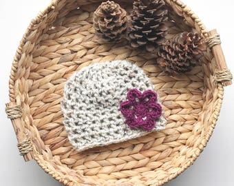 Crocheted Beanie with Flower | Jessica Hat | Donation Item