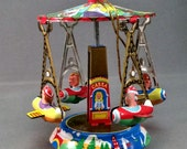 VTG Tin Carousel Shylling Tin Toy Ornament 1995 NOS Movable  Classic Carnavel Flying Airplane Ride Lithographed Tin Christmas Ornament Boxed