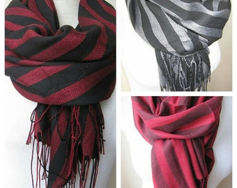 Grey gray black stripe crinkle viscose fabric scarf-Scarves2012 fashioN-woman-Men's SCARVES ,Turkey Turkish scarves-gift ideas for him-her