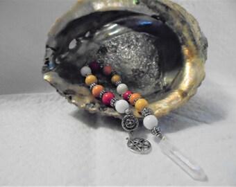 Glass and metal Pagan Prayer Beads Esbat strand pendulum