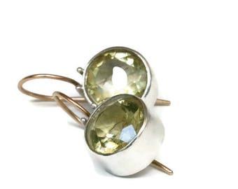 Genuine Citrine Earrings  Large Round  Citrine Drop Earrings, Light Yellow Gemstone Earrings, Bezel Set  Artisan Handmade by Sheri Beryl
