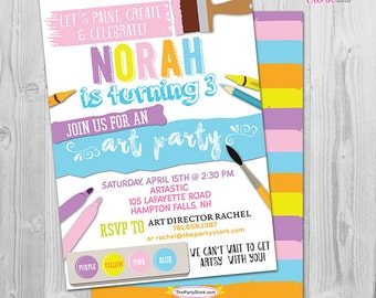 Art Party Invite, Printable
