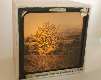 Magic lantern Slide Light Box/ Landscape, Sicily Photo Ornament/ decoration