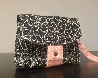 Aster Double Zipper Wristlet Pouch with Strap