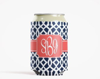 Personalized Can Insulator, DIY Custom Bottle Insulated Beverage Container, Navy Roman Trellis