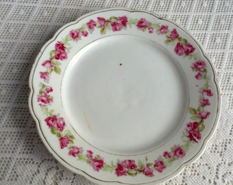 Pink Rose Pattern Plate/ Vintage Ceramic Bread and Butter Plate with Gold Trim
