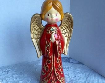 Vintage Chalkware Angel Made in Japan / Handpainted Christmas Angel Figurine by Ardco