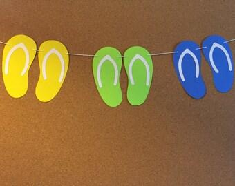 Flip flop garland, baby shower garland, birthday garland, paper sandal garland,  summer garland