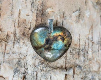 Blue labradorite heart pendant, heart of the ocean, natural untreated labradorite, blue, great flash spectrolite stone, sterling silver