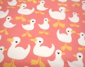 "1 Yard - 60"" Width - French Terry Cotton Knit Fabric - Coral Pink Duck Swan"