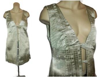 Vintage 1960s Couture Dress Silver Green Metallic Reptile Print 60s Go Go Dress Mod Minidress Paris Tunic Dress Unique! M chest to 37 in