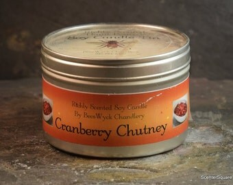 Soy Candle Tin - 8 oz in Cranberry Chutney Scent
