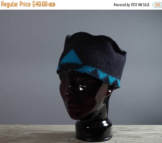 SUMMER SALE Leather and Wool Hat - Native American Inspired Hat - Southwest Wool Hats - OOAK