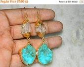 20off Earring-Druzy Earring-Crystal Earring-Howlite Turquoise Earring-Gold edge Druzy Agate Slice Earring Natural Druzy Slice