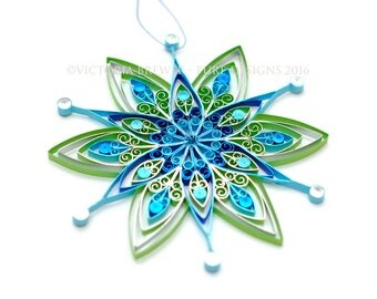 Quilled star decoration, Eco-friendly, quilled paper, Christmas