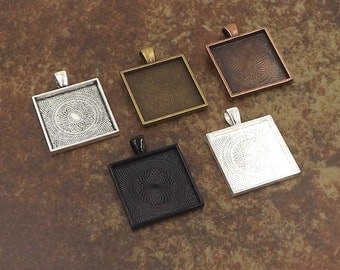 "Square Bezel Pendant Tray with Textured Back. 25mm or 1"". Silver, Bronze, Copper, Black Options. 10 Pack."