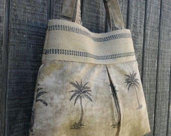 Palm Tree Printed Pleated Handbag Purse Tote Bag with Jute Webbing