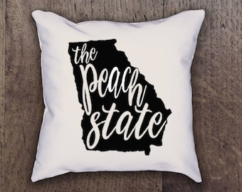 Georgia Peach State Pillow Cover - Graphic Pillow Sham - Custom made Linen Pillow Cover - Pillow Cover - Southern Girls Collection Design