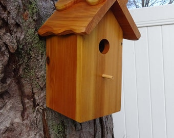 Birdhouse/Nesting Box 3, Outdoor Natural Wood, easy cleanout,Handmade, good quality, fully functional - Western Red Cedar. Made in USA