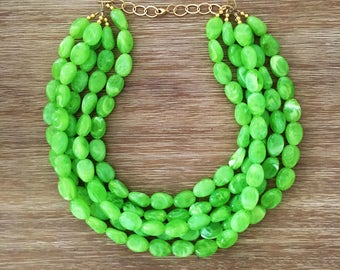Statement Necklace Bridesmaid Jewelry JACKIE O Apple Green  NECKLACE  Wedding Jewelry Statement Jewlery Lime Green Necklace
