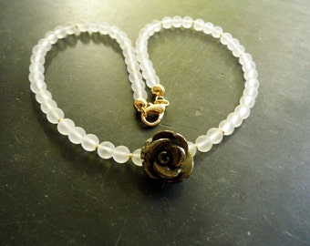 Necklace, white, bride, quartz, pyrite, rose, gold, wedding