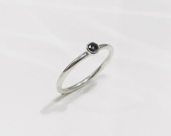 Stunning Rose Cut Black Diamond Solitaire Stacking Halo