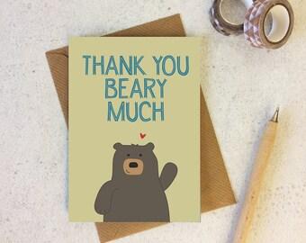Bear Thank You Card 'Thank You Beary Much' - Cute Bear Thankyou Card - cute cards - funny thank you card - bear card - cute animal - uk