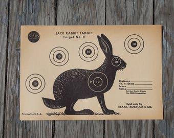 Rabbit Target Paper / Vintage Shooting Target / Rustic Hunting Decor / JC Higgins Vintage Rabbit Paper / Man Cave Gun Target / Hunting Sign