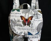 RESERVED FOR Doris M.-Small backpack- Butterfly theme canvas